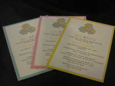 Block Baby Shower Printed Invitation for a baby boy, girl or if you don't know on Etsy, $26.00