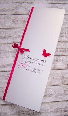 Menükarte Hochzeit pink Ranke mit Schmetterling