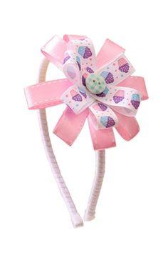 Tiara Cupcake - Tiara branca com flor de fitas rosa e estampada de cupcakes http://www.nanapetit.com.br/tiara-cupcake-p1196/