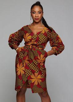 Bisi African Print Pleated Sleeve Wrap Dress (Magenta/Yellow Pinwheels) from Diyanu - Ankara Dresses, Shirts & African Inspired Fashion, African Print Fashion, Africa Fashion, Ethnic Fashion, African Print Clothing, African Print Dresses, African Fashion Dresses, African Prints, Modern African Dresses