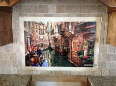 Custom Tile Mural Kitchen Backsplash - Photo of Venice was edited and then digially printed on ceramic tiles. The kitchen tiles are stain resistant and a glaze which can be cleaned with normal cleansers, including bleach. Made by Custom Tiles, custom-tiles.com