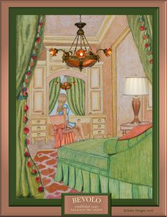 June Jackson from created this pretty in pink bedroom using colored pencils and digital media. It features the Alabaster Chandelier from the Bevolo Collection. Digital Art Gallery, Digital Media, Colored Pencils, Pretty In Pink, Jackson, Interior Decorating, June, Chandelier, Bedroom