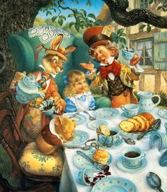 Love this artwork. The sweetest Alice in Wonderland rendition I think.