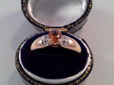 Online veilinghuis Catawiki: Geelgouden ring met citrien en diamant