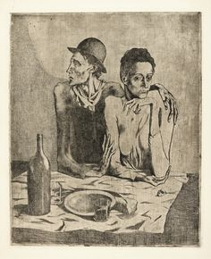 Pablo Picasso  1881 - 1973  LE REPAS FRUGAL (B. 1; BA. 2)  Etching, 1904, from la suite des Saltimbanques, printing with plate tone and clarity, a fine impression from the edition of 250 (there were also 27 or 29 impressions printed on japan paper), on Van Gelder Zonen wove paper, published by Vollard, Paris, framed     plate: 472 by 384mm 18 3/8 by 14 7/8 in  sheet: 664 by 514mm 26 by 20in  picasso, pablo le repas frugal (b ||| prints ||| sotheby's l17160lot6hxb6en