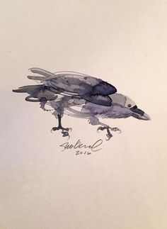 Contemporary Black Crow Watercolor Painting on Chairish.com
