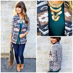 """NEW ARRIVALS DAILY!! Shop our NEW fav """"going west jacket""""($48) available at #tria and online at www.sopnieandtrey.com! #freeshipping #newarrivals #aztex #fashipn"""