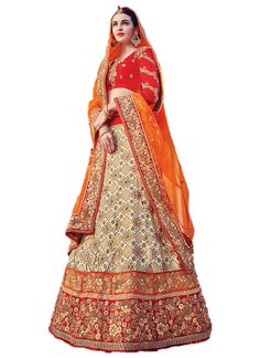 EthnicWear Beige Silk Lehenga Choli Hot Designer Bridal Wedding Wear Dress Collection. Style: A - Line Lehenga , Occasion: Bridal, Reception, Wedding. Fabric: Raw Silk, Color: Beige. Work:Embroidery, Patch Border Work, Moti. Blouse is attached to the lehenga and is an Unstitched Blouse Piece. Customer will have to seperate the Unstitched Blouse Piece & the lehenga by themselves Stitching service is not provided. We have not authorised any other seller to sell our brand ETHNICWEAR9. Any...