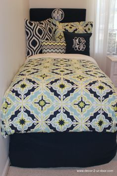 KKG sorority bedding and decor perfect for rush tours. Pick your fabric and letter color.