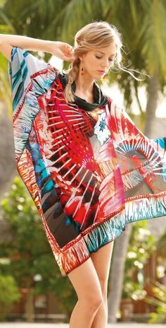 Sunflair 2013 Cherokee Poncho Swimsuit Cover Up #beach #dress #red #roidal #fashion #coverup southbeachswimsuits.com