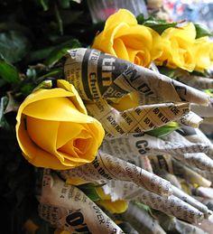 Rose blossoms wrapped for transport, Hanoi, Vietnam