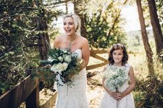 McLachlan Studios - Jim and Katelyn Sweet photo of the beautiful bride hiding from the groom while the bridesmaids (lost) find their way to the ceremony site! #galianoinnspa #galianoisland #galiano #weddings #galianowedding #weddings #bride #dress #flowergirl