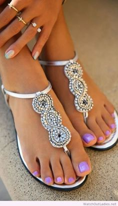 White shoes or silver and diamond embellishments look great with nail polish shades that have cool undertones. Look for colors with blue bases or undertones. by mable Pedicure Nail Art, Nail Nail, Pedicure Colors, Pink Nail, Silver Sandals, Sparkly Sandals, Pretty Sandals, Beautiful Sandals, Pretty Toes