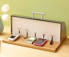 Genius! To create a clutter-free parking station, drill a hole in the back of a bread box, insert a rubber grommet, and thread the power-strip cord through. Cut small slits in 1/4-inch medium-density fiberboard (MDF) to create a divider that conceals the power strip and chargers behind it.