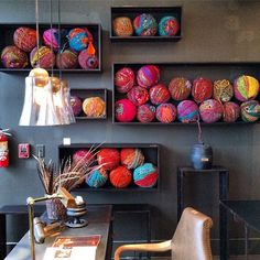 Expert Styling at BoBo — High Point Fall Market 2013 (Apartment Therapy Main) Yarn Display, Toy Display, Display Ideas, High Point Furniture, Ball Storage, Yarn Organization, Yarn Ball, Furniture Covers, Yarn Stash