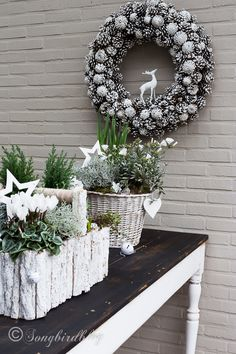 Easy outside Christmas table decorations with real plants and all things white... so lovely! By Songbird