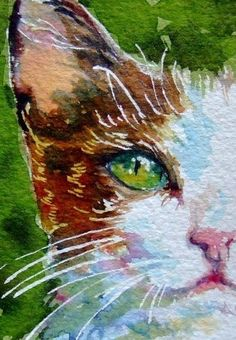 Cat ACEO with green eyes signed fine art print via Etsy
