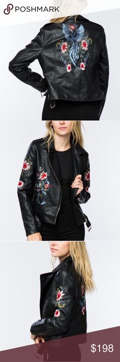 Black Vegan Leather Floral Moto Jacket Black Moto jacket with floral print. This jacket is so cool!!! I️ am OBSESSED. Floral Embroidered Black vegan Leather Moto Jacket. Edgy and flirty at the same time, this vegan leather Moto jacket checks all the boxes. Available in sizes small, medium and large. Runs true to size. With this floral Moto jacket you'll define style. Jackets & Coats