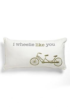 Aww so cute! A bicycle built for too!  Levtex 'I Wheelie Like You' Pillow available at #Nordstrom