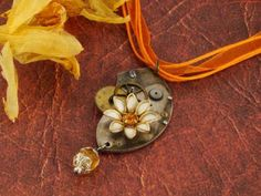 Orange Daisy Flower Steampunk Necklace Upcycled Steampunk Jewelry OOAK by fripparie on Zibbet