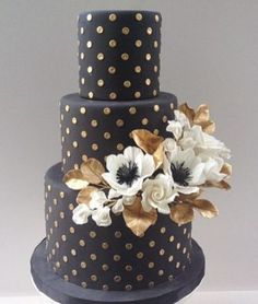 Black Three Tier Gold Dotted Wedding Cake