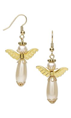 """Jewelry Design - Earrings with Glass Pearl Beads and Gold-Plated """"Pewter"""" Beads - Fire Mountain Gems and Beads"""