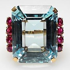 Vintage Natural Aquamarine & Ruby Cocktail Ring Solid 18K Gold