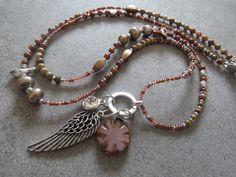 Stylische Bettelkette * Rost * Süsswasser * Perlen von Perlenzimmer auf DaWanda.com