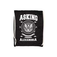Asking Alexandria Eagle Drawstring Backpack ($15) ❤ liked on Polyvore featuring bags, backpacks, band, asking alexandria, merch, shoulder bags, backpacks bags, knapsack, drawstring bag and backpack