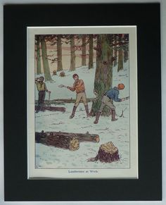 Impression Vintage Lumberjack antique bûcheron par PrimrosePrints