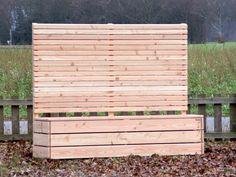 Blumenkasten mit Sichtschutz lang aus Holz Douglasie Natur - Made in Germany - Holzweise