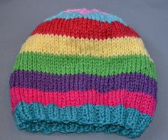 Knitting Pattern for a Child's Cat Hat Stash-Busting Striped Hat Free Knitting Pattern for Babies and KidsStash-Busting Striped Hat Free Knitting Pattern for Babies and Kids Baby Hat Knitting Pattern, Baby Hats Knitting, Knitting For Kids, Loom Knitting, Knitting Patterns Free, Knit Patterns, Free Knitting, Knitted Hats, Free Pattern