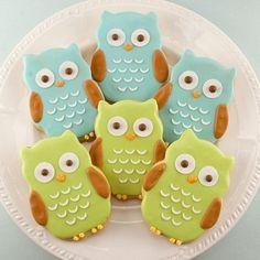 Blue and green owl cookies