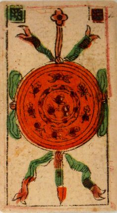 """Tarocchi Minchiate Al Leone. This printed in 2004 Tarot is a faithful reproduction of the original, which is located in the game cards  museum """"Fournier"""""""