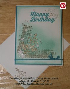 Birthday card created using Timeless Textures Stamp Set from the Stampin' Up! 2016 Occasions Catalogue.  http://tracyelsom.stampinup.net