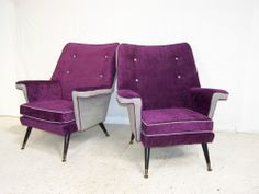 Vintage Retro 1950s reupholstered armchairs chic retro classic designs 50s 60s