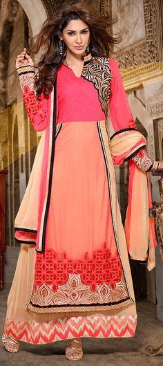 415989: Long kurti on Anarkali. Shop this style! #bridal #wedding #ethnic #sale #peach #tribal