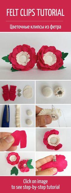 How to make flower felt clips for a girl / Делаем универсальные цветочные клипсы из фетра