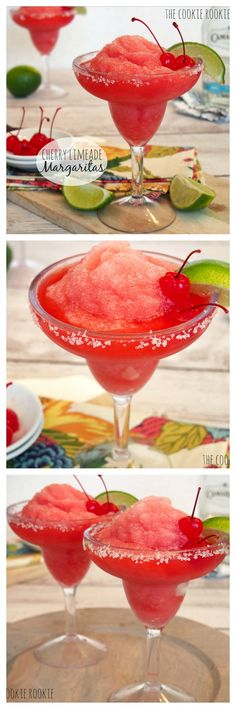 Frozen Cherry Limeade Margarita Recipe - The Cookie Rookie® Party Drinks, Cocktail Drinks, Fun Drinks, Beverages, Red Cocktails, Limeade Margarita, Margarita Recipes, Margarita Drink, Drink Recipes