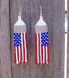 Patriotic Jewelry | American Flag Brick Stitch Earrings by SimplyRaevyn on Etsy