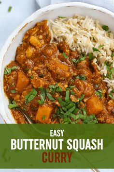 ROASTED BUTTERNUT SQUASH CURRY - This Butternut Squash curry is a really warming vegetarian meal. Roasted butternut squash, with spinach and chickpeas mixed with Indian spices make this a comforting dish perfect for the whole family. It is dairy and gluten free and would be suitable for vegans. It is also a brilliant recipe for batch cooking and freezing ahead for those midweek nights. #tamingtwins #butternutsquash #vegetarian #curryrecipe #curry #vegetariancurry #buternutsquashrecipe #bns Butternut Squash Curry, Roasted Butternut, Vegetarian Curry, Vegetarian Recipes, Family Recipes, Family Meals, One Pot Meals, Easy Meals, Batch Cooking