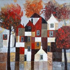 Czerwona jesień ( Otoño rojo ) Fantasy Paintings, Paintings I Love, Landscape Art Quilts, Landscape Paintings, Painting Corner, Futurism Art, Naive Art, Small Art, Whimsical Art
