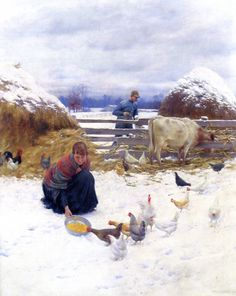 The Athenaeum - Winter Morning in the Barnyard (Charles Courtney Curran - )
