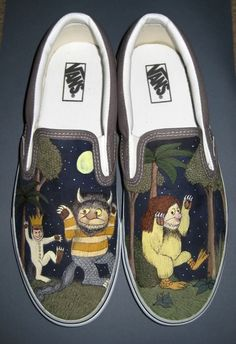 Where the Wild Things Vans Shoes. Um where has this been all my life Lankenau Lankenau Painted Vans, Hand Painted Shoes, Custom Vans Shoes, Tenis Vans, Shoe Wardrobe, All About Shoes, Pretty Shoes, Looks Cool, Me Too Shoes