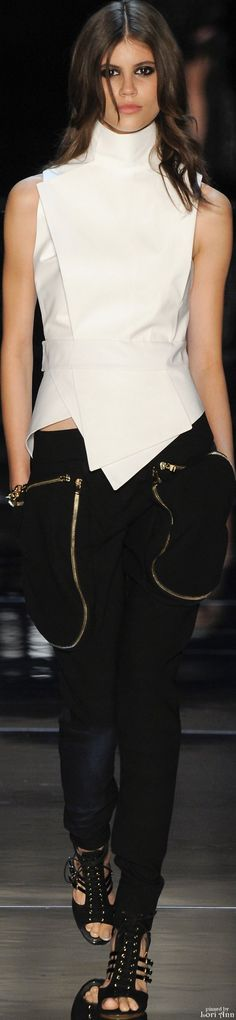 INSPIRATION & Take-away: Alexandre Vauthier Couture Spring 2016. The take-away is, a bold, structured white top against a black pant. You could simply do a black-wash denim jean but top it with a strong, structured bold blouse, perhaps a wrap-around.