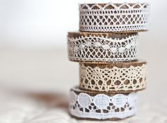 napkin rings - vintage lace over bamboo