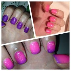 Pink purple violet nail art fluo thermo glitter gel