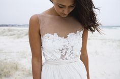 this is my FAVORITE beach wedding dress, this company has a home run....... just beautiful gowns, carefree, comfortable wedding gowns. check them out.  French lace wedding dress by Grace loves lace www.graceloveslace.com