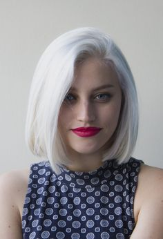 Platinum hair and pink lipstick
