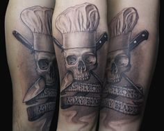 """As strong as my blade""          chef skull tattoo"